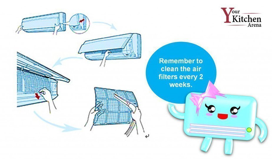Image of cleaning the filters of portable ac to improve efficiency